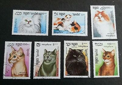 KAMPUCHEA 1988 Cats set SG 883-9 fine used stamps