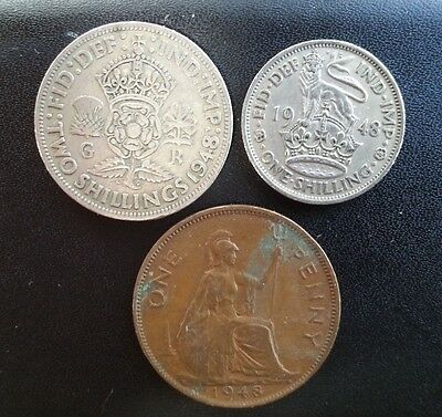 George VI 1948 two 2 Shilling, One 1 Shilling and one penny coins
