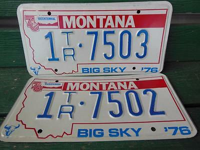 1976 Montana 1Tr-7503 & 1Tr-7502 Big Sky Bicentennial License Plate Pair Garage