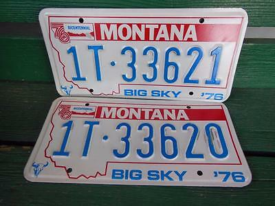 1976 Montana 1T-33621 & 1T-33620 Big Sky Bicentennial License Plate Pair Garage