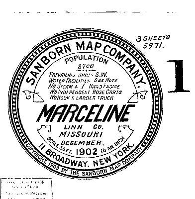 Marceline, Missouri~Sanborn Map©~14 sheets made in 1894, 1902, 1911 on a CD