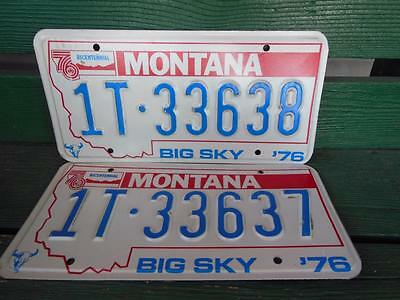 1976 Montana 1T-33638 & 1T-33637 Big Sky Bicentennial License Plate Pair Garage