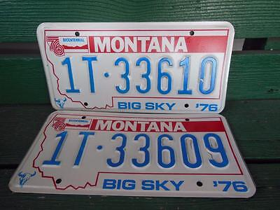 1976 Montana 1T-33610 & 1T-33609 Big Sky Bicentennial License Plate Pair Garage