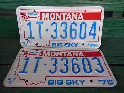 1976 Montana 1T-33604 & 1T-33603 Big Sky Bicentennial License Plate Pair Garage