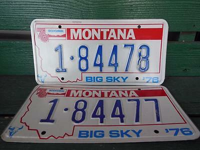 1976 Montana 1-84478 & 1-84477 Big Sky Bicentennial License Plate Pair Garage