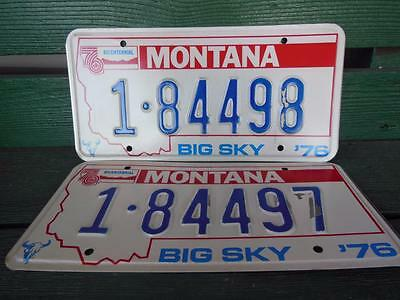 1976 Montana 1-84498 & 1-84497 Big Sky Bicentennial License Plate Pair Garage