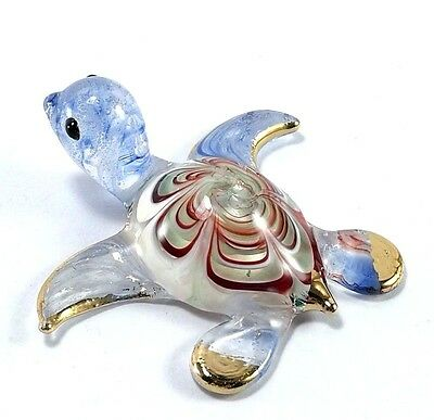 Blue Sea Turtle Figurine Red Shell Handmade Blown Art Glass 2""