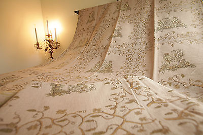 Antique French Textile Fabric Curtains Angels Cherubs Pink Gold