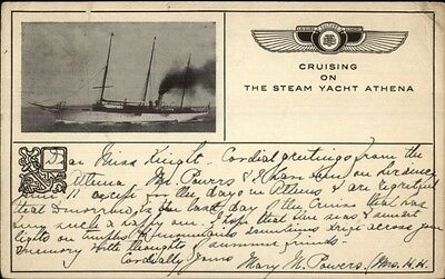Cruising on Steam Yacht Athena Greek Cancel & Postage Stamp Used Postcard