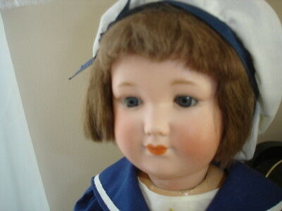 "Antique AM  Rare German Bisque 18"" Louis Amberg Baby Peggy Doll"