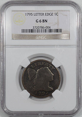 1795 Flowing Hair Large Cent - Letter Edge Ngc G6 Bn.  Reeded Edge!