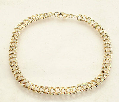 """8"""" Light Duty Double Curb Charm Link Chain Bracelet Real 10K Yellow Gold"""