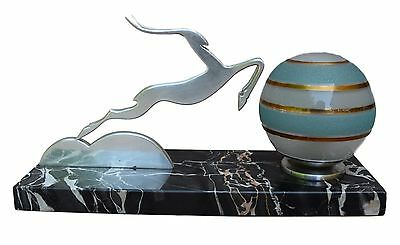 French Art Deco Silver Antelope Marble Table Lamp - Glass Ball Shade