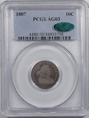 1807 Draped Bust Dime Pcgs Ag-3. Cac Approved.  Reeded Edge!