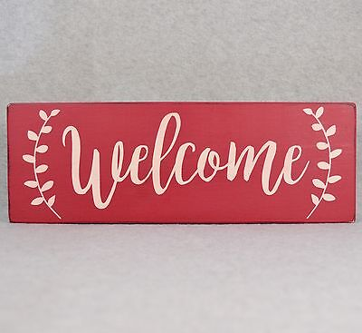 Rustic Farmhouse Style Welcome With Laurel Border Wood Sign, Red & Antique White