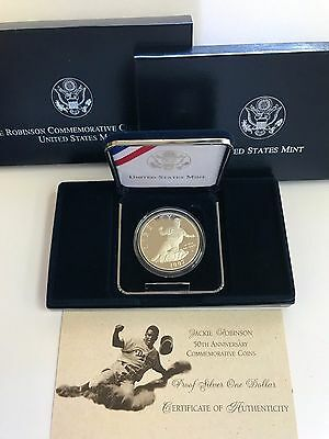 1997 Jackie Robinson 50Th Anniversary Commemorative Proof Silver Dollar