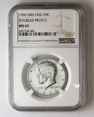 1966 SMS DDO Doubled Profile Kennedy Half Dollar NGC MS 65