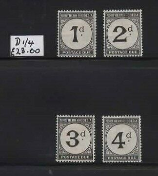1929 Northern Rhodesia Postage Dues set SG D 1/4 - CV £23. Fresh MH (see note)