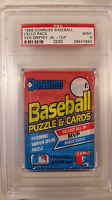 1989 Donruss Cello Pack Ken Griifey Jr Rookie on Back PSA  9