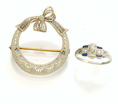 Vintage White Gold Brooch & White Gold Ring