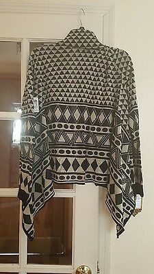 black and off white cardigan wrap sweater XL