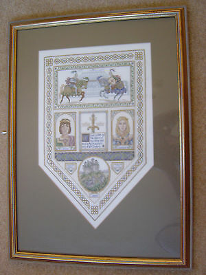 Needlepoint Sampler King Arthur and Guinevere Beautifully Done - Will Post