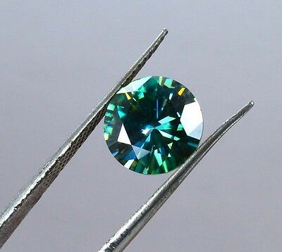 GENUINE 2.84 Ct 9.45mm Loose Moissanite VVS1 Green Blue Color  Round Brilliant