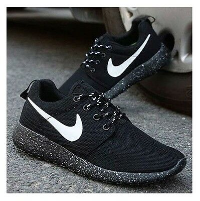 buy online 05599 f487f ... Womens Nike Roshe Run Black and White Speckles Rosherun Running Shoes  Sneakers ...