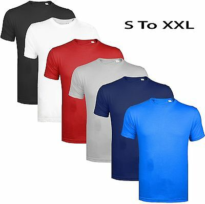 Mens Summer T-shirt Plain 100% Cotton Gym AthleticTraining Tee Top Heavy Quality