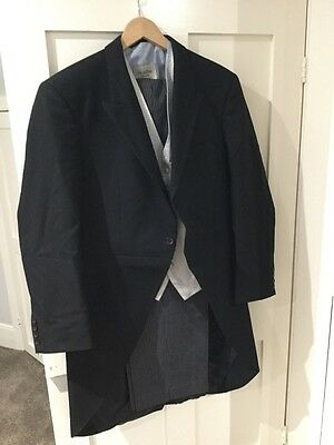 3 Piece Mens Moss Bros Black Morning Suit Blue Waistcoat For Races Wedding