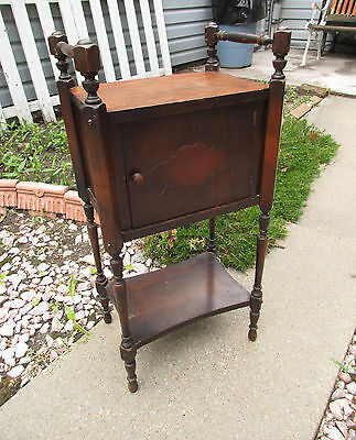Antique Turn Wood Tobacco Humidor Smoke Stand 1926 IDEAL Manf USA Cabinet Table