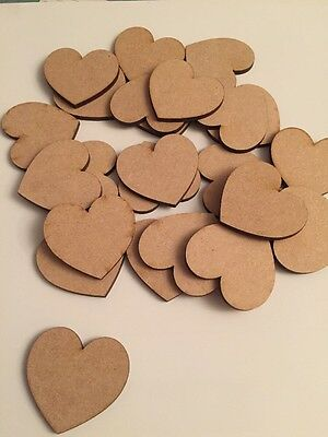 Pack Of 500 50mm Wooden MDF Laser Cut Hearts - Craft, Wedding, Bunting Etc...