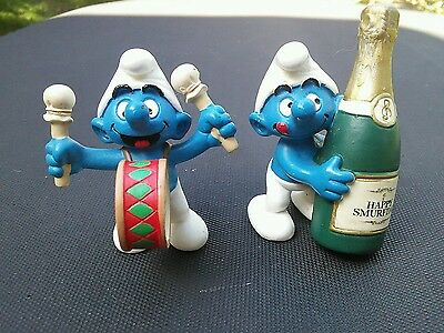 Vintage Schleich Smurf Happy Birthday PVC Figure Smurfday Germany 07 Lot Drummer