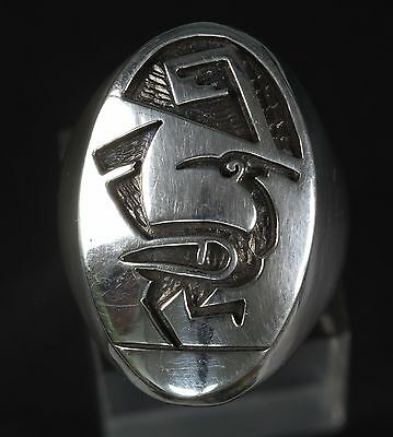 Hopi Heavy Sterling Silver .925  Road Runner Ring Size 9