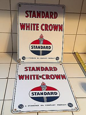 ORIGINAL VinTage STANDARD WHITE CROWN Gas Pump Plates Station PORCELAIN Sign Oil