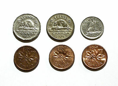 Canada Coins: 5 Cents 1950 & 1976, 10 Cents 1969, 1 Cent 1960, 1961, 1962