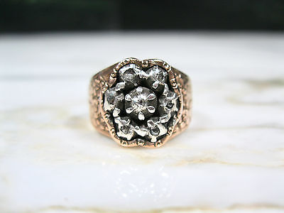 Antique Victorian Chinese 14K Rose Gold 7 Rose Cut Diamonds Signet Ring Sz 8
