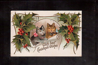 """Usa Vintage Used Postcard, Cats, """"with Best Christmas Wishes"""" !!"""