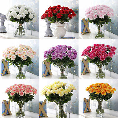 43cm Artificial Silk Fake Rose Flowers Wedding Party Home Bouquet Decor New