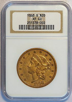 1868 S $20 Liberty Head Gold Double Eagle Coin (NGC XF 40 XF40) (LV#G2)