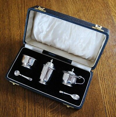 STERLING SILVER CONDIMENT SET 925 SOLID SILVER Adie Brothers Ltd Birmingham 1941