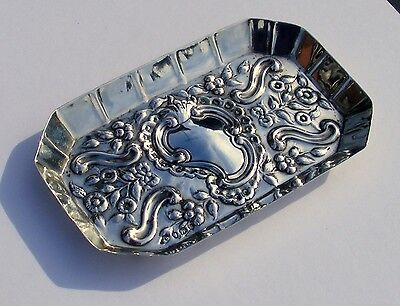 Victorian Solid Silver Floral Embossed Tray London 1892 Maker William Comyns