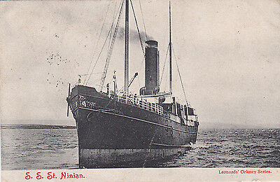 Scarce early Orkney shipping postcard S.S.St. Ninian. Leonard's posted 1905.