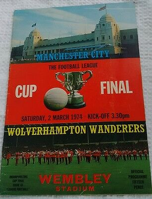 Vintage 1974 Manchester City The Football League Cup Final Programme