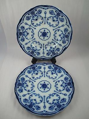 CONWAY FLOW BLUE by NEW WHARF POTTERY England Set of 2 Dinner Plates Flaws