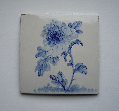 Antique Japanese Blue & White tile with impressed mark with Chrysanthemum Design