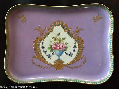 Antique Carl Thieme DRESDEN Porcelain Dresser Tray Platter ~ UNUSUAL DECOR!