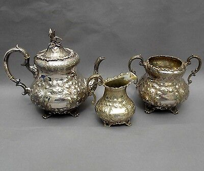 Ornate 19thC Silver Plated Tea Set ~ Repoussé & Chased ~ Eagle Finial ~ J L
