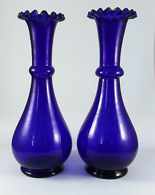 Rare Pair of Bristol Blue Glass Vases with Acid Etched Pattern Handblown  19thC