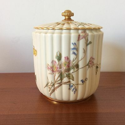 Antique Royal Worcester Biscuit Jar 1282 Cream Satin Finish Floral
